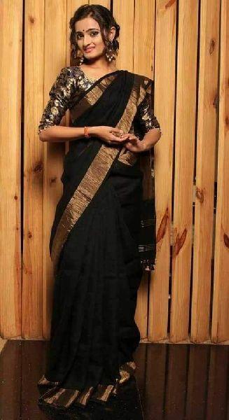 Linen Saree With Golden Zari Border 05