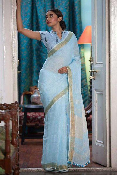 Linen Saree With Golden Zari Border 07