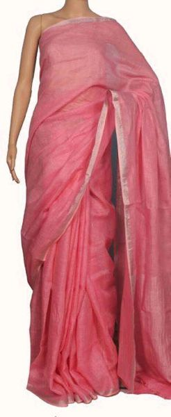 Linen Saree With Silver Zari Border 13