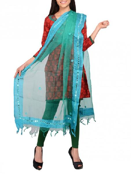 Mirror Work Silk Dupatta 16