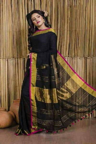 Striped Linen Saree With Zari 05