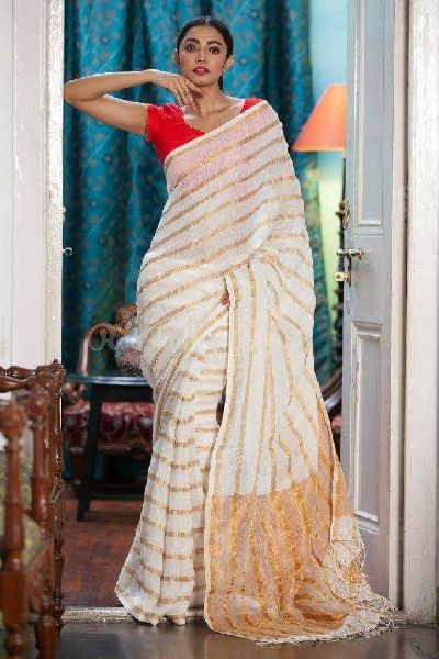 Striped Linen Saree With Zari 06