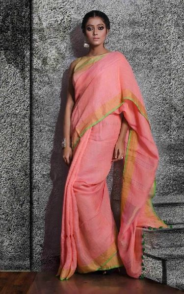 Striped Linen Saree With Zari 07