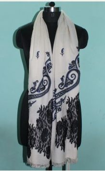 Embroidered Wool Shawl 04