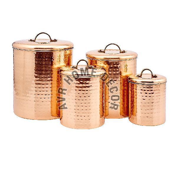 Copper Hammered Canister Set