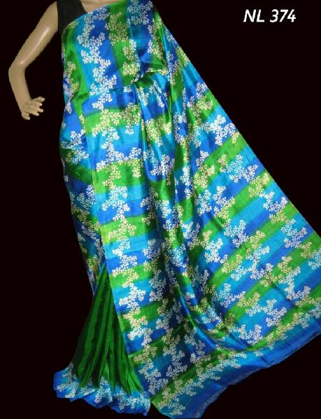 Block Printed Silk Saree 14
