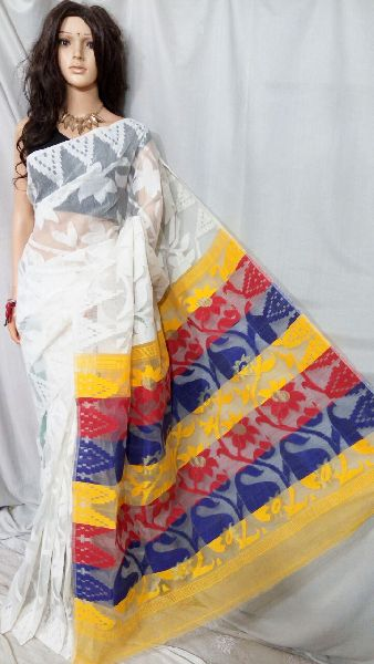Dhakai Jamdani Saree Without Blouse 06
