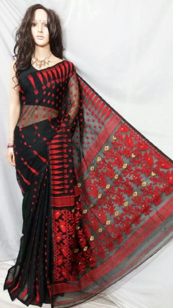 Dhakai Jamdani Saree Without Blouse 12