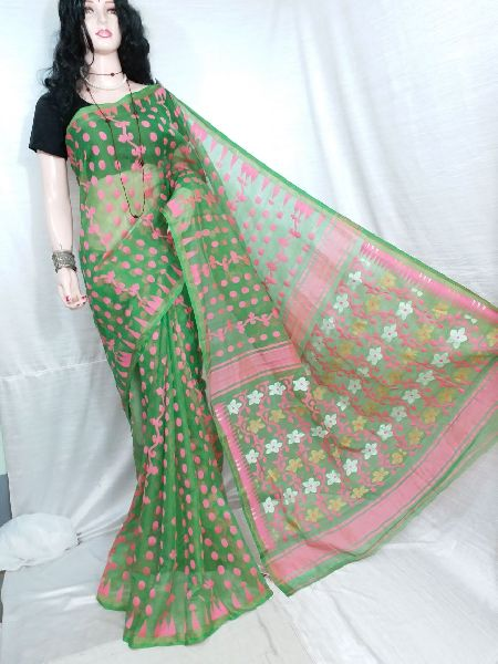 Dhakai Jamdani Saree Without Blouse 15
