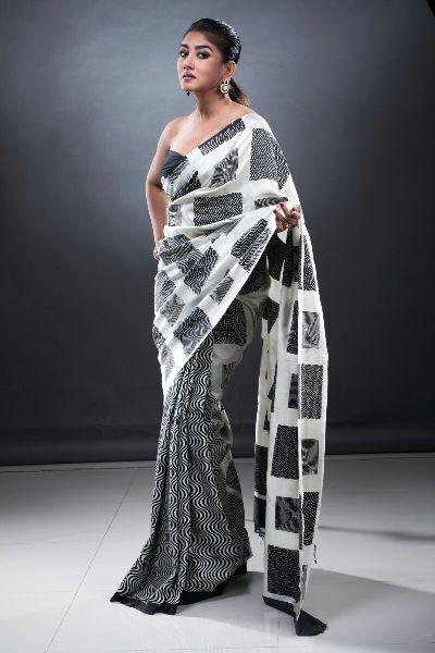 Hand Block Pure Silk Saree with jori ari