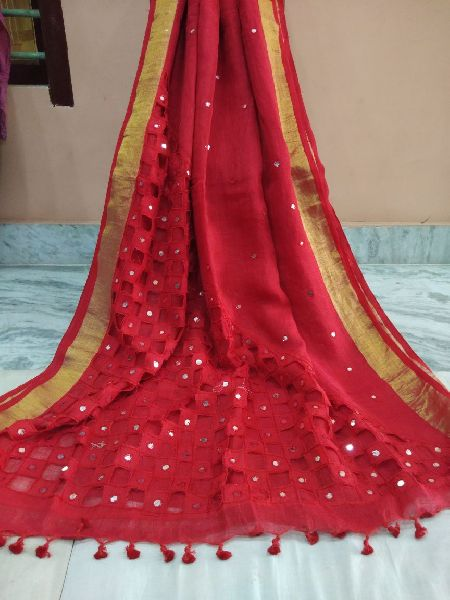 Linen Sarees with Cutwork and Mirror