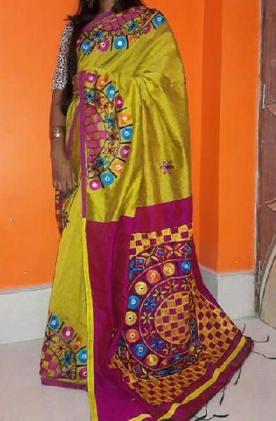 Silk Cotton Saree hand work