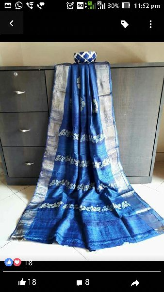 Tussar Silk Saree With Zari Border