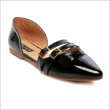 Ladies Shiny Black Sandals