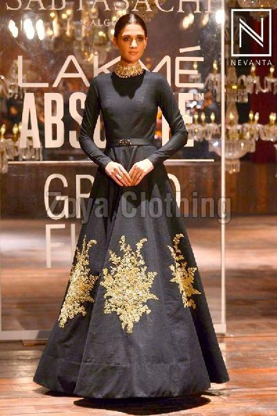 Bollywood Replica Silk Black Gown Manufacturer Supplier in Surat India