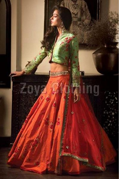 7ff0c8d35b Orange Embroidered Art Silk Lehenga Choli Manufacturer Supplier in ...