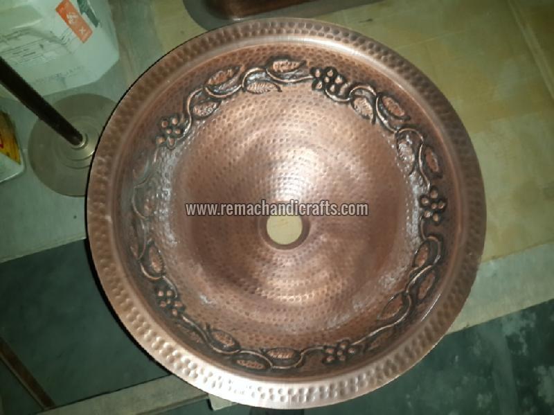 2003 Undermount Hammered Round Copper Sink