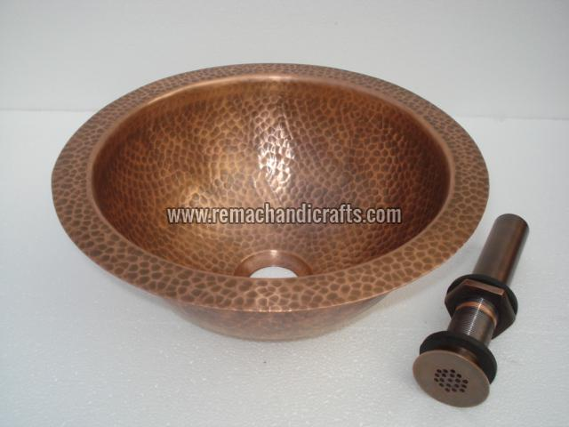 2005 Undermount Hammered Round Copper Sink