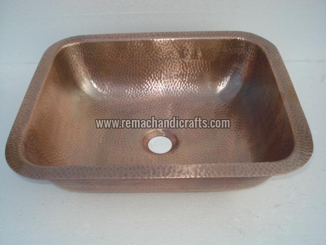 2006 Undermount Hammered Rectangular Copper Sink