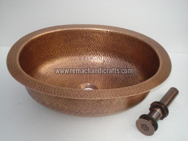 2007 Undermount Hammered Ellipse Copper Sink