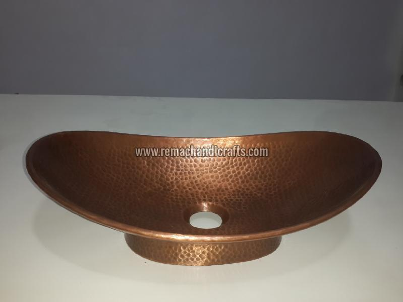 3001 Boat Shaped Copper Bathroom Sink 02
