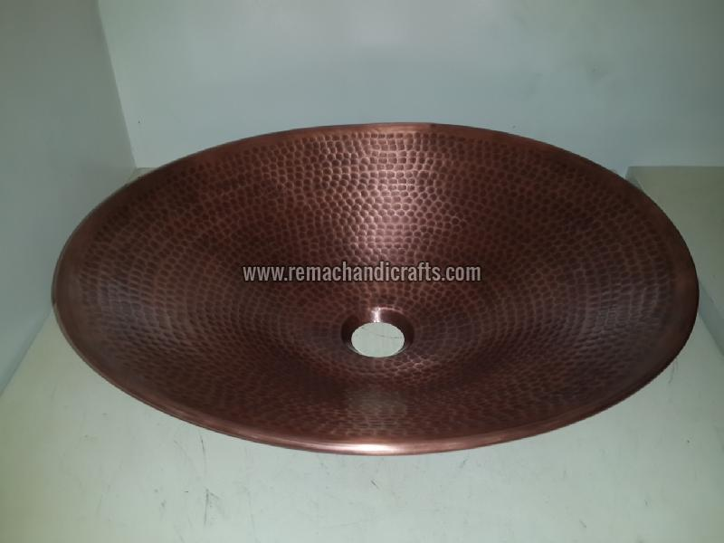 3005 Undermount Hammered Oval Copper Sink
