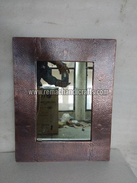 6003 Rectangular Hammered Copper Mirror