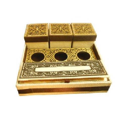 Golden Jute Wedding Invitation Box