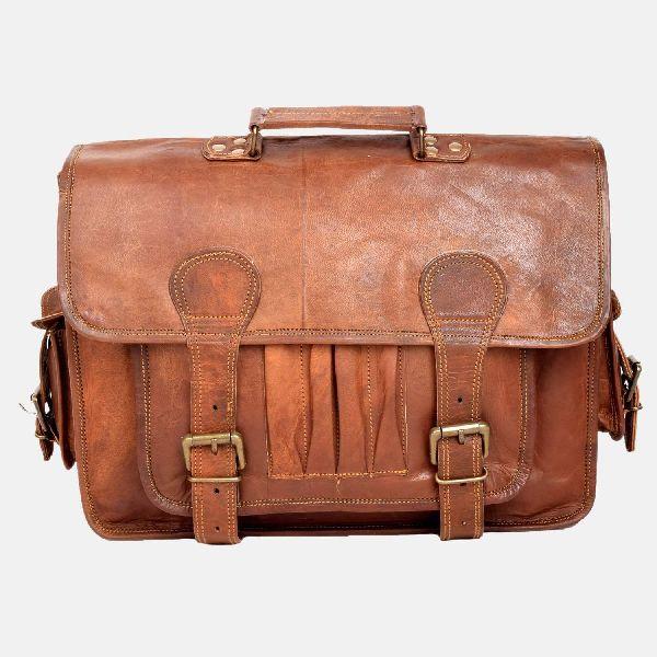 "15"" Leather Laptop Satchel Bag With Pen Pockets"