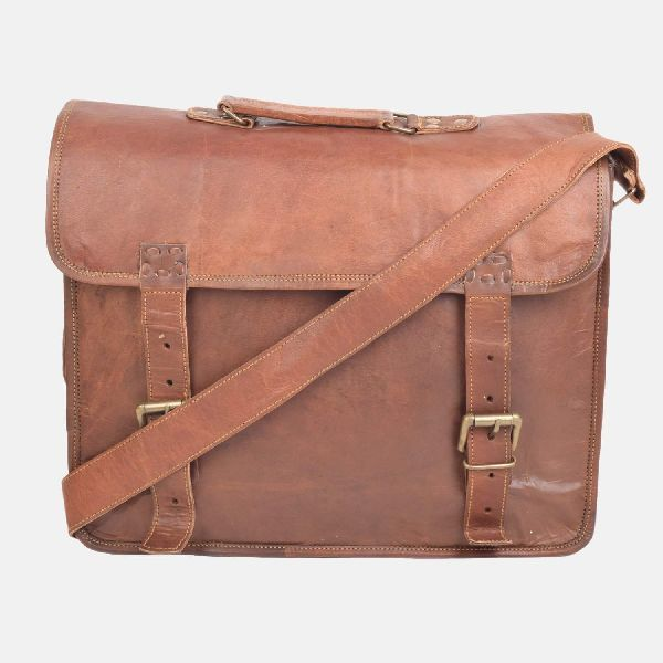 "15"" Men""s And Women""s Brown Leather Laptop Bag"