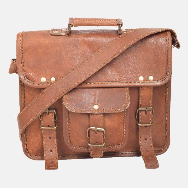 """15"""" Spacious Vintage Leather Laptop Satchel Bag"""