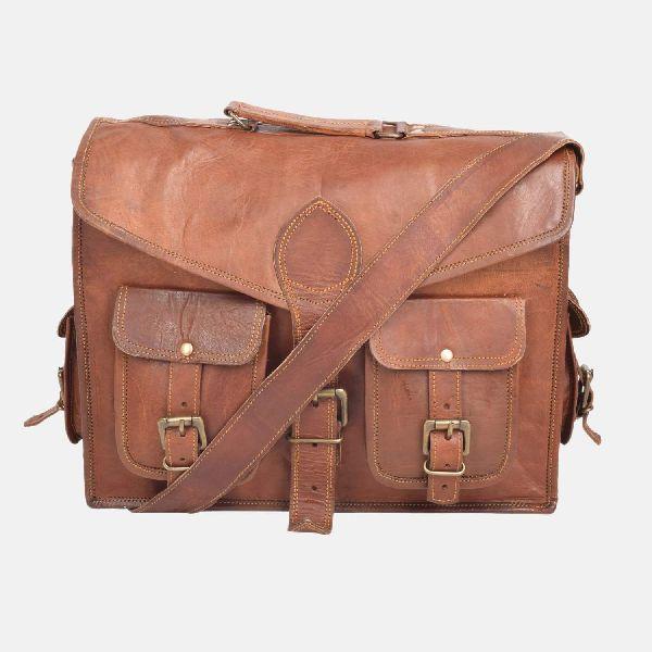 """15"""" Vintage Leather Handmade Laptop Satchel Bag"""