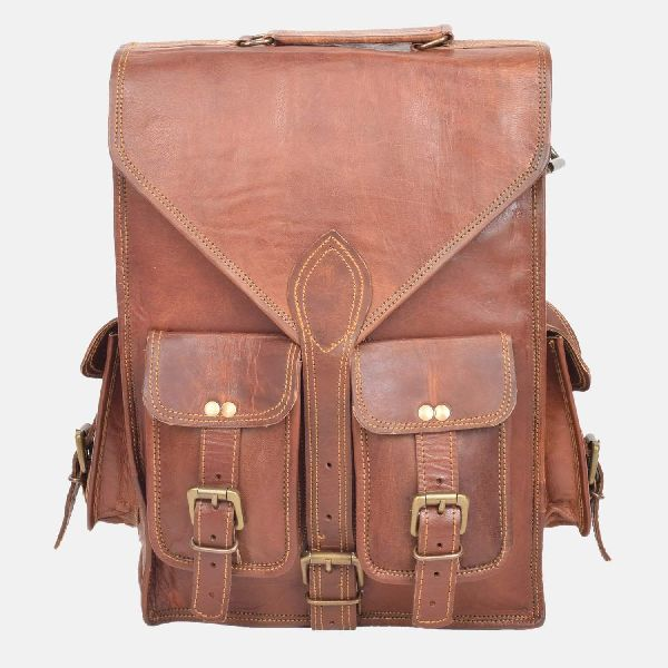 "16"" Leather Rucksack And Shoulder Bag"