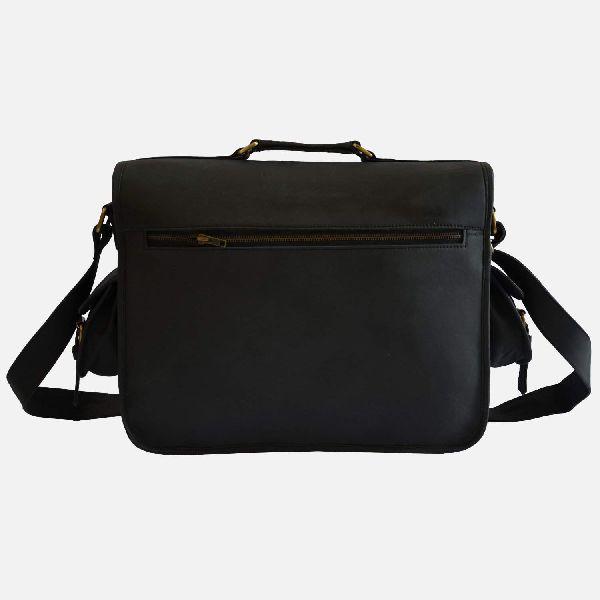 "16"" Tough Black Leather Laptop Or Camera Bag"