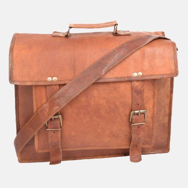 "17"" Large Handmade Leather Laptop Bag"