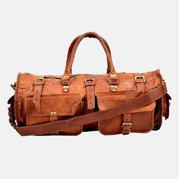 """22"""" Vintage Leather Travel , Weekend Bag"""