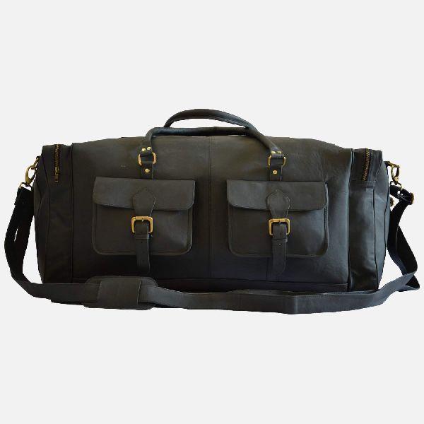 """28"""" Large Black Leather Travel Bag"""