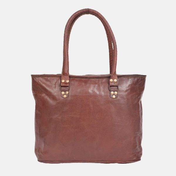 Ladies Leather Handmade Tote Bag With Zip Top Brannigan