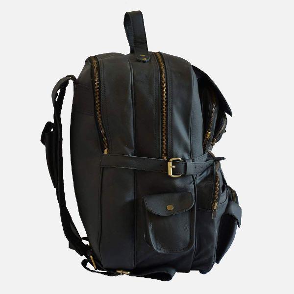 Large Black Leather Rucksack With Multiple Pockets