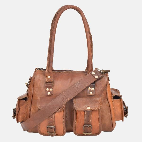 Womens Leather Handbag With Pockets