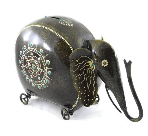 Iron Handmade Elephant Shaped Coin Box 02