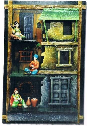 Indian Art Village Scene Frame