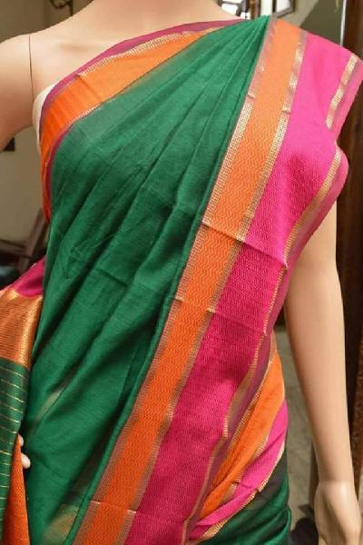 Maheshwari Silk Cotton Double Border Sarees