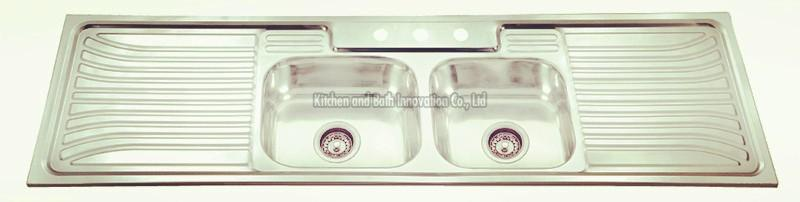 KBDB18050 Stainless Steel Two Bowl Two Drain Sink