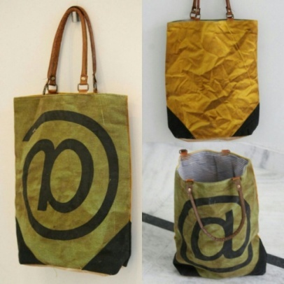 PH066 Canvas Mix Leather Tote Bag