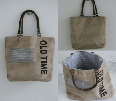 PH067 Canvas Mix Leather Tote Bag