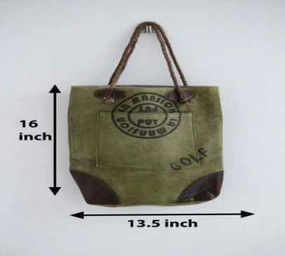 PH068 Canvas Mix Leather Tote Bag