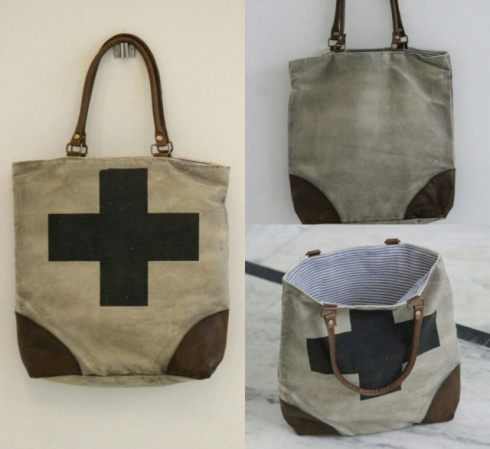 PH071 Canvas Mix Leather Tote Bag