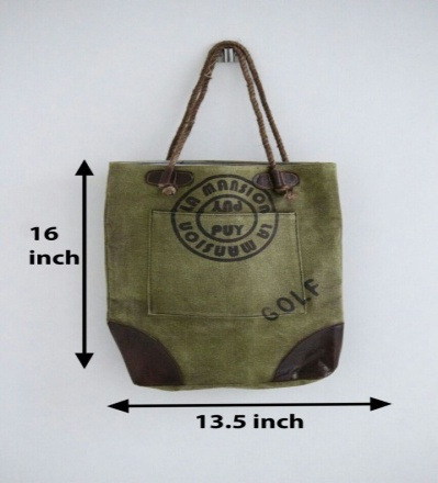 PH072 Canvas Mix Leather Tote Bag