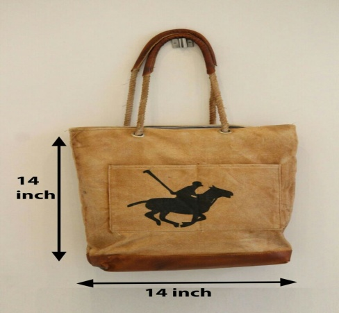 PH074 Canvas Mix Leather Tote Bag